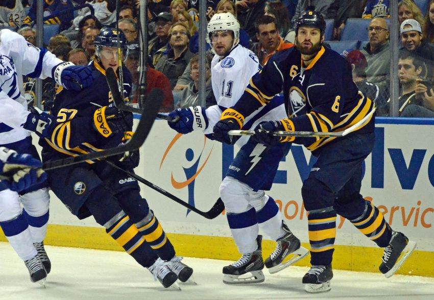Sabres' Tyler Myers and Mike Weber finally skate as defense partners
