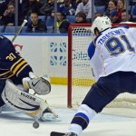 Sabres start fast against Blues, can't hold on