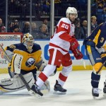 Sabres grab early lead against tired Red Wings, falter again late