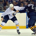 Photo: Sabres prospects Justin Kea and Anthony Florentino fight